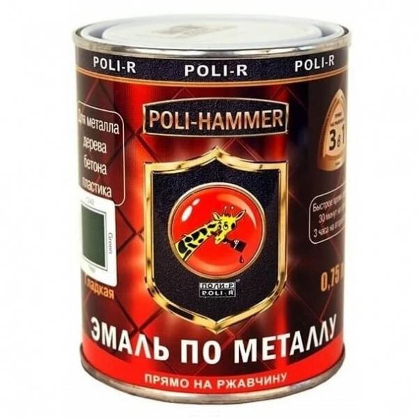Эмаль по ржавчине гладкая Poli-Hammer