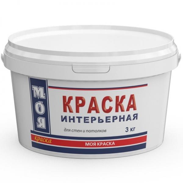 Краска интерьерная (эконом) для стен и потолков (белый) 3 кг