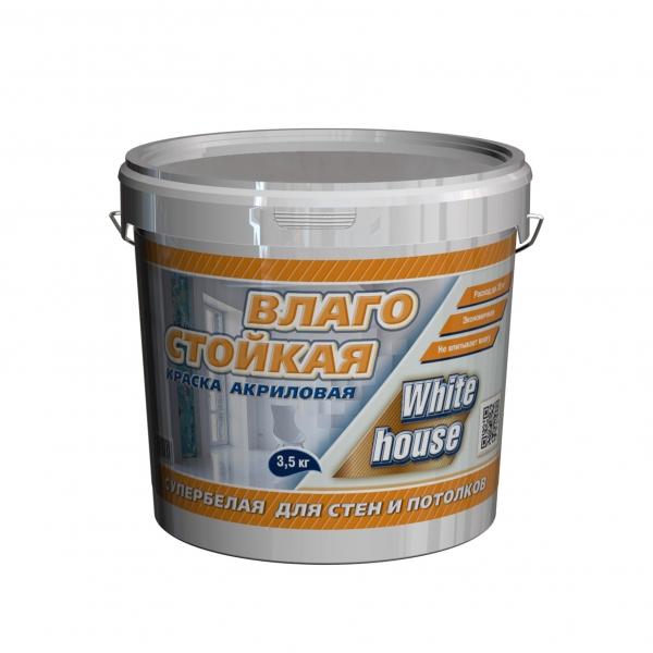 Краска влагостойкая супербелая (белый) 3,5 кг