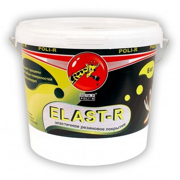 Эластичная резиновая краска Elast-R сверхстойкая (черепичный ral 3016) 6 кг